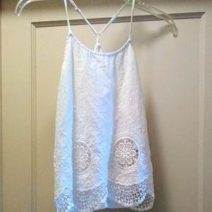 Sz S Papaya white cotton lace racerback blouse